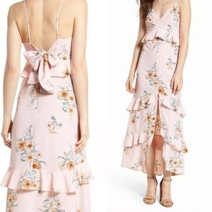 LUSH Pink Floral Tiered Maxi Dress (81)